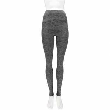 2x thermo broek ondergoed voor dames zwart melange