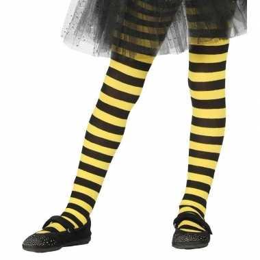 Carnavalskleding/halloween geel/zwarte heksen panties/maillots verkle