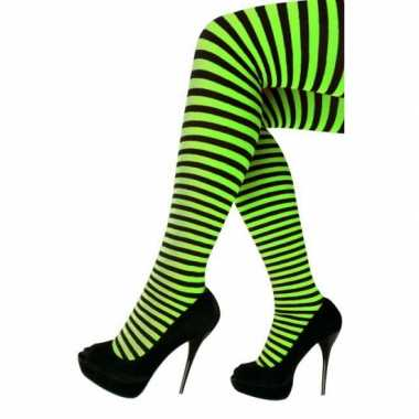 Carnavalskleding/halloween groen/zwarte heksen panties/maillots verkl