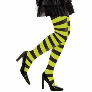 Carnavalskleding/halloween neon groen/zwarte heksen panties/maillots verkleedaccessoire voor dames m/l