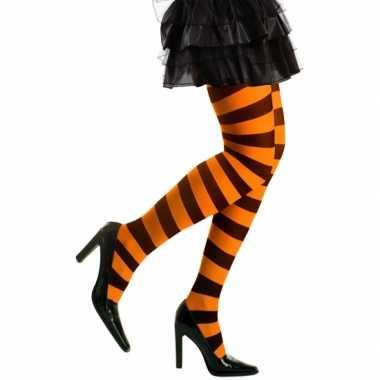 Carnavalskleding/halloween oranje/zwarte heksen panties/maillots verk