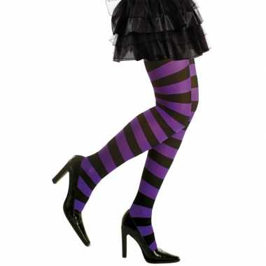 Carnavalskleding/halloween paars/zwarte heksen panties/maillots verkl