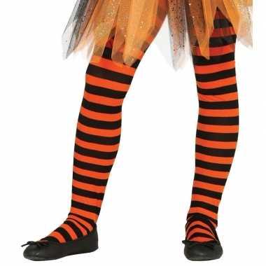 Maillot gestreept oranje/zwart voor meisjes