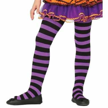 Maillot gestreept paars/zwart voor meisjes