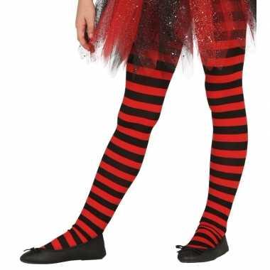 Maillot gestreept rood/zwart voor meisjes