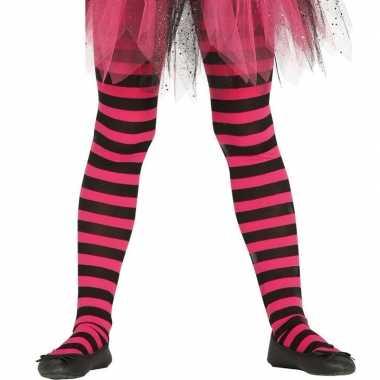 Maillot gestreept roze/zwart voor meisjes