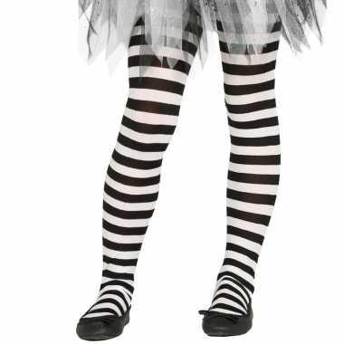 Maillot gestreept wit/zwart voor meisjes