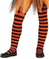 Carnavalskleding halloween oranje zwarte heksen panties maillots verkleedaccessoire voor meisjes