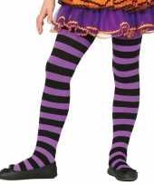 Maillot gestreept paars zwart voor meisjes